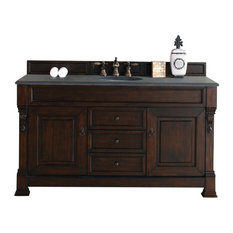 "Brookfield 60"" Single Cabinet, Burnished Mahogany , 2CM Black Rustic Stone Top"