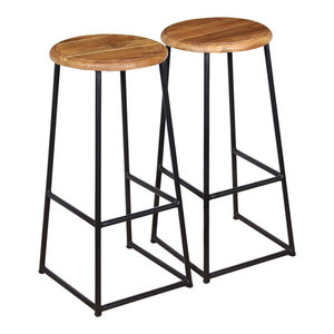 vidaXL Bar Stools, Set of 2, Solid Teak