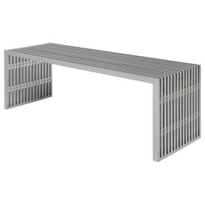 Lanser Bench Brushed Metal Contemporary Accent And