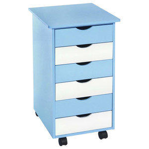 Contemporary Chest of Drawers, Painted Solid Wood, 6-Drawer and 4-Wheel, Blue