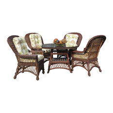 Bar Harbor 5-Piece Dining Set With 42-inch Glass In Brown Wash Yvonnealoe Fabric