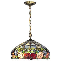 """16.25"""" Antique Brass Zenia Rose Hand Crafted Glass Hanging Ceiling Light"""