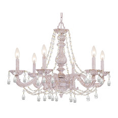 Paris Market 6-Light Chandelier Antique White Clear Swarovski