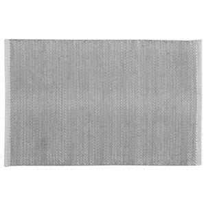 Handwoven Grey Field Cotton Rug, 60x90 Cm