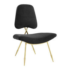 Black Ponder Performance Velvet Lounge Chair
