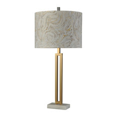 Marble Gold, Bryan Keith Branded, Marble and Steel Table Lamp, Hardback Shade