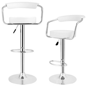 Set of 2 Bar Stools Upholstered, Faux Leather, Back Support and Armrests, White