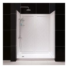 """DreamLine DL-6189L-01 SlimLine 30 x 60"""" Shower Base and QWALL-5 Backwall Kit"""