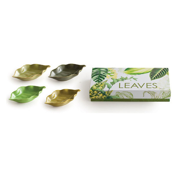 Leaves Appetizer Plates,, Set of 4
