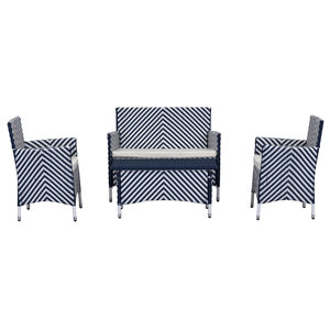 Safavieh Mendoza Outdoor Dining Set, 4-Piece, Navy and White