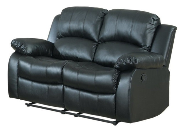 Classic And Traditional Brown Bonded Leather Recliner Love Seat ...
