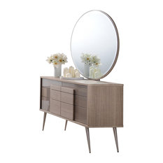 Midcentury Modern Taupe Bronze Dresser And Mirror 2-Piece Set
