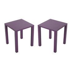 "GDF Studio Tammy Outdoor Aluminum 16"" Side Tables, Purple, Set of 2"