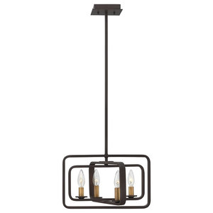 Stem-Hung Buckeye Bronze 4-Light Pendant Chandelier