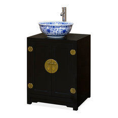 Elmwood Chinese Ming Vanity Cabinet Black