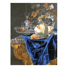 Tile Mural Still Life With A Melon Peach Grapes, Glossy