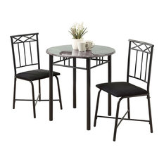 3-Piece Dining Set, Gray Marble/Charcoal