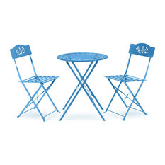 3-Piece Bistro Set Painted Steel With Floral Pattern Folding Design Blue