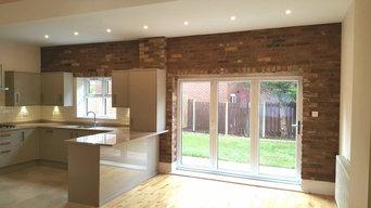 Reclaimed Brick Slips in Modern Kitchen