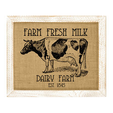 Cow Burlap Wall Art