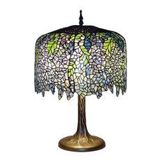 "Serena d'italia Tiffany 3-Light Wisteria 27"" Table Lamp With Tree Trunk Base"