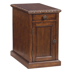 Anzy   Traditional Style Laflorn Chair Side End Table, Rectangular, Dark  Brown   Side