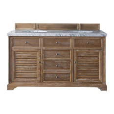"Savannah 60"" Driftwood Double Vanity w/ 4cm Carrara White Marble Top"