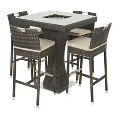 Maze Rattan Ltd - Outdoor Square 5-Piece Bar Set, Brown - Garden Bistro Sets