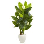 Nearly Natural - 5' Spathiphyllum Artificial Plant in White Planter, Real Touch - Add a bold accent to home interiors with this artificial Spathiphyllum plant. Reaching 5' high, boasting realistic bright leaves mixed with Spathiphyllum blooms that feel real to the touch, this impressive plant adds impactful greenery to empty spaces with its lush mix of textures. Nestled in a white planter accented with natural-tone rocks, it makes an impressive gift for new homeowners.