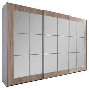 Bilbao Mirrored Wardrobe, Oak, Large