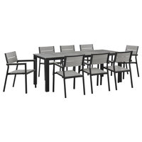 Modway Maine 9-Piece outdoor Patio Dining Set, Brown Gray