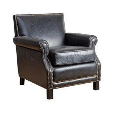 Abbyson Living Chloe Leather Club Chair, Antique Black