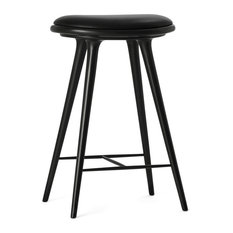 Black Stained Beechwood Stool, Counter Height