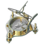 """Brass Sundial/Magnetic Compass With Spirit Level and Hardwood Case - This premium grade model of the sundial compass has a round spirit level built into the frame to assist in leveling the sundial. The three main variables that affect the accuracy of a sundial are the azimuth, latitude of the instrument, and level. This sundial has the ability to set all three variables. It has an internal magnetic compass to align the sundial in azimuth to North. The top of the sundial is hinged and a curved scale is used to set your local latitude angle. The three legs of the sundial can be adjusted until the spirit level's bubble is centered. The top of the sundial can lay down flat, and both the latitude scale and the sundial vane are hinged to lay flat for compact storage. The sundial measures 5"""" tall, 2 3/8"""" tall when collapsed, the body of the compass is 2 7/8"""" in diameter, and the sundial weighs 14 ounces. A beautiful fully lined hardwood case is included for display and storage of the brass sundial. The hardwood case measures about 5.5"""" square."""