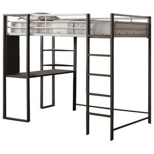 3cfbf1008991 Acme Senon Loft Bed With Desk, Silver and Black - Industrial - Loft ...