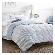 Brookside Striped Reversible Chambray Down Alternative Comforter Set, Calm Sea