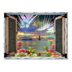 "Leo Kelly 'Tropical Window to Paradise III' Canvas Art, 32""x24"""