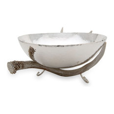 Bowl With Antler Stand, Silver, 16""