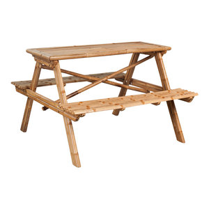 vidaXL Picnic Table, Bamboo, 120x120x78 cm