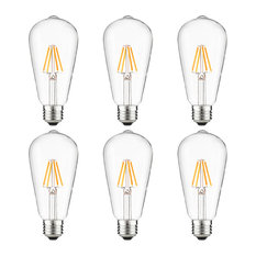 Sunlite S19 LED Vintage Edison Bulb Warm White, 3W Dimmable, Medium Base, 6-Pack