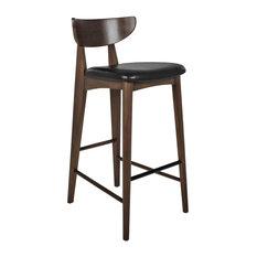 Dane Brown Teak Bar Stools, Set of 2