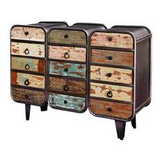 Main Street Rustic Mango Wood 12 Drawer Industrial Dresser