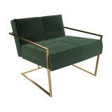 Federico Armchair, Green Velvet, Brass Frame