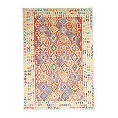 Kelim Afghan Rug, Oriental Carpet, Hand-Woven, 288x206 cm