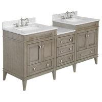 "Eleanor 72"" Double Bathroom Vanity With Carrara Top, Weathered Gray"