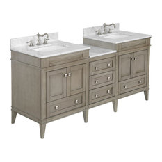 Eleanor 72-inch Double Bathroom Vanity With Carrara Top Weathered Gray