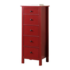 Contemporary Style 5 Drawers Wooden Chest Red