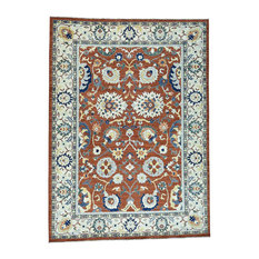 "Hand-Knotted Pure Wool Peshawar Sultanabad Design Oriental Rug, 10'0""x14'0"""