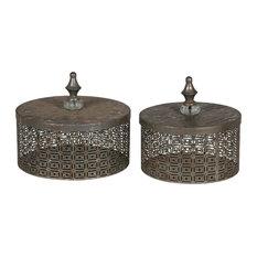 Bauman 2-Piece Iron Box Set, Distressed Silver