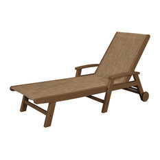POLYWOOD Coastal Chaise with Wheels in Teak / Burlap Sling